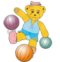 Graphic of Melody Bear jumping like a bouncy ball