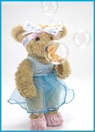 Photo of Melody Bear blowing bubbles
