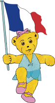 Graphic of Melody Bear waving the French Flag