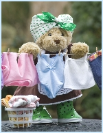 Photo of Melody Bear hanging up her ballet leotard on the washing line