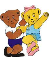 Milligan Bear and Melody Bear dancing together