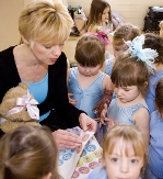Melody Bear is the focal point of Jill Bridger's dance classes for pre-school children