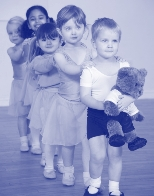 Photo of pre-school girls and boys and Milligan Bear