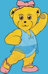 Graphic of dancing teddy, Melody BearMelody Bear logo,copyright R Beeton, J Ewing Melody Movement Early Learning