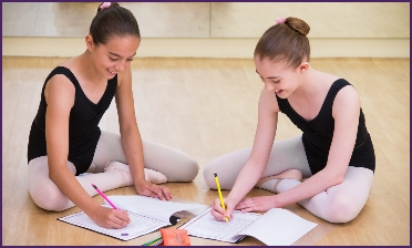 Photo of senior ballet students studying