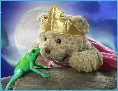 Photo of Melody Bear kissing a frog telling the story of the Frog Princess