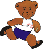 Graphic of Milligan Bear running to a ballet class
