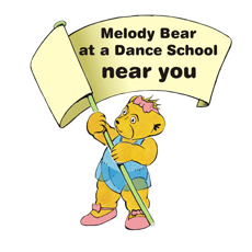 Graphic of Melody Bear holding a banner, Melody Bear logo.  Copyright R Beeton, J Ewing Melody Movement Early LearningMelody Bear logo.  Copyright R Beeton, J Ewing Melody Movement Early Learning