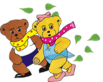 Graphic of Melody Bear and Milligan Bear in the wind