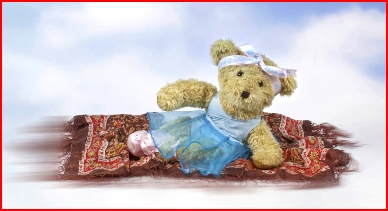 Photograph of Melody Bear on her flying carpet